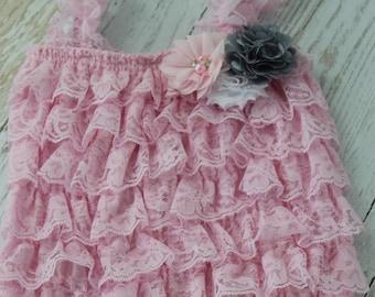 Pink Lace Romper Baby Girl Petti lace romper Newborn Romper baby Romper Ruffle romper 1st birthday infant romper lace romper