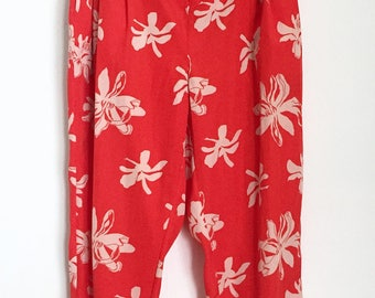 Vintage High-Waisted Red Tropical Pants