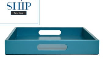 Large Ottoman Tray, Coffee Table Trays, Coffee Table Decor, Lacquer Tray, Large Serving Tray with Handles, Teal Decor, Home Bar