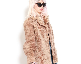 Vintage 50s Light Brown Persian Lamb Fur Jacket
