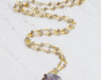 Amethyst Druzy Pendant Necklace, Labradorite Necklace, Gold Electroplated, Drusy, Long Necklace, Boho, Bohemian, Purple, Lavender, Gemstone