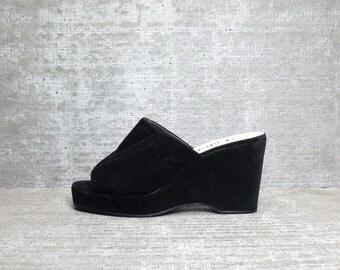 Vtg 90s Black Wedge Minimal Slippers Mules 6.5
