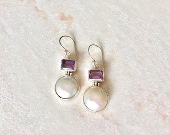 White pearl long dangle earrings with amethyst/ Bridal pearl earrings/ Gift for her