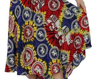 Women's Boho Skirts Maxi Dress Gypsy Dress Skirt Rayon Dress Skirt Hippie Dress Summer Beach Dress Long Skirt Bohemian Elephant design