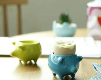 Bacon n' Eggs - piggy eggcups - blue/green
