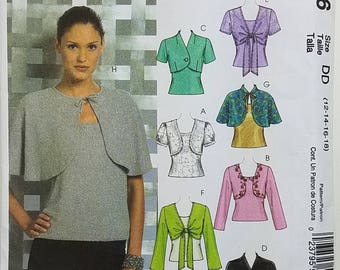 Misses' Lined and Unlined Shrugs, Lined Capelets and Tops Clothing Pattern. Uncut. Size DD 12, 14, 16, 18. McCall's M5006.
