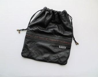 90s Ouellet Leather Lens Pouch, DSLR Camera Accessory Drawstring Bag
