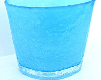 Blue Glass Vase Mid Century Modern Table Setting Holiday Bohemian Modern Icy Blue Vase