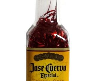 Jose Cuervo, Jose Cuervo Especial Tequila Gold Ornament, Christmas Ornament, Miniature Jose Ornament,  Handmade Ornament, liquor bottle