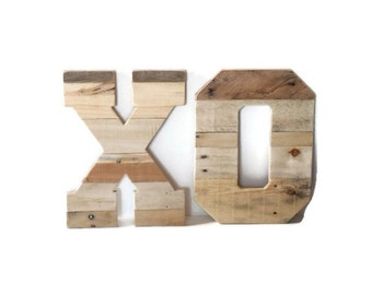 """Kisses and Hugs, wedding letters, XO, rustic pallet letters, Wedding Decor, 16"""" tall letters, wooden letters, reclaimed wood letters"""