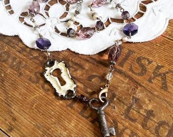 Key Escutcheon Assemblage Necklace - antique hardware necklace keyhole necklace