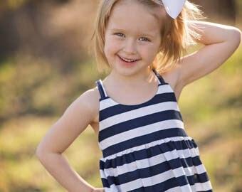 Navy White Stripe Spring Summer Hummingbird Dress - Baby Girl