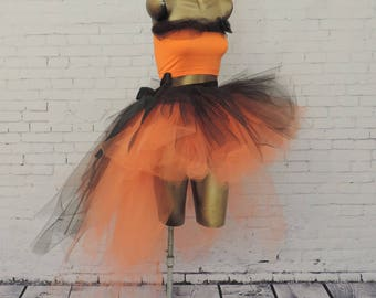 High low tutu skirt with matching top, Halloween witch costume orange and black tutu costume, Halloween costume for women adult tutu skirt