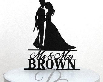 Personalized Wedding Cake Topper - Police Officer and Bride Silhouette with Mr & Mrs name