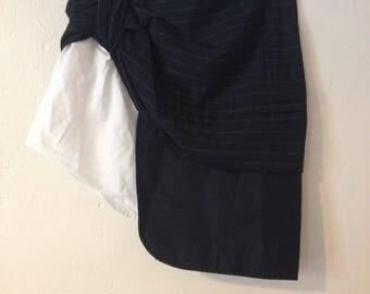 SALE 25% OFF Pinstripe Patchwork Mini Skirt Wrap Over Asymmetric Hem Minimal Trend XS