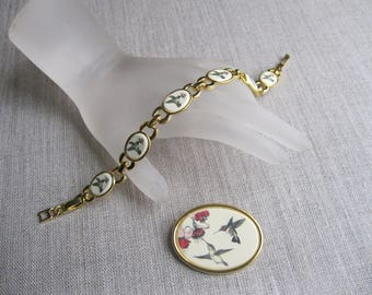 SALE Hummingbird Pin and Bracelet by Stephen Barlow, Hand Painted and Signed Barlow, Hummingbird Jewelry, Hummingbird Bracelet, Pin