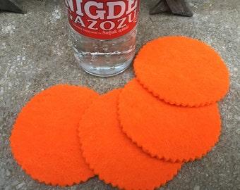 Orange Round Felt Coasters, Wool Coasters, Simple Coasters, Coaster Set, Drink Coaster