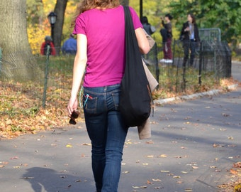 Black Cotton Messenger Bag Shoulder Bag Handbags Hippie Bag Hobo Bag Sling Bag Crossbody Bag Diaper Bag Overnight Purse Tote Bag