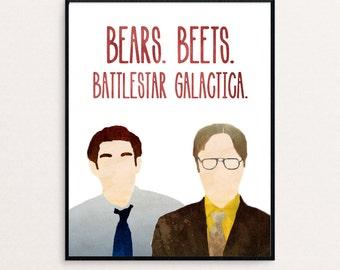 """The Office - Dwight Schrute and Jim Halpert - """"Bears. Beets. Battlestar Galactica."""" Watercolor Digital Print"""
