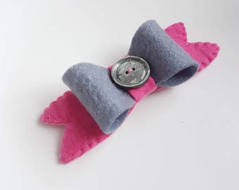 Grey and Pink Bow Hair Clip