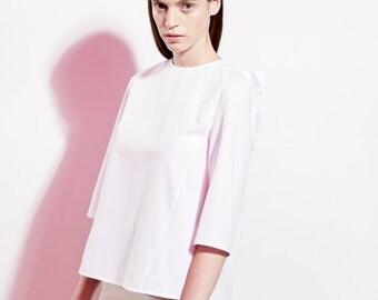 Minimalist Cotton Shirt / Elegant Blouse / Trendy Shirt / Extravagant Blouse / Loose Fit / White Cotton Shirt / Office Blouse