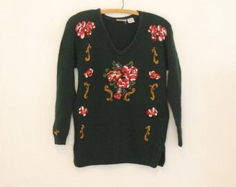 Green, Floral Embroidered Pullover Sweater - 1980s