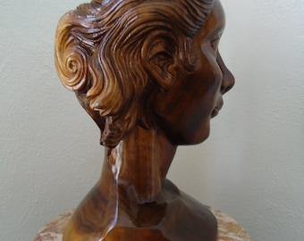 Original Hand carved Female Bust - Wood sculpture - Original artwork - Black walnut wood - Female bust - Original art, Wooden sculpture, Art