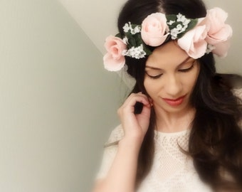 Light Pink Floral Crown, Flower Headpiece, Pink Flower Crown