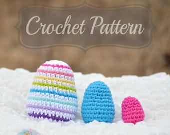 Crochet Pattern, Crochet Easter Egg Pattern, 3 sizes Egg Amigurumi Pattern, Crochet Egg Pattern, PDF Pattern, Crochet Rattle Pattern