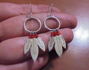 Beautiful Vintage STERLING Silver NAVAJO Native American Feather EARRINGS w Red Seed Beads - Dangle Movable Earrings Bird Spirit Wisdom .925