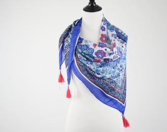 Vintage Blue Floral Large Square Scarf with Tassels