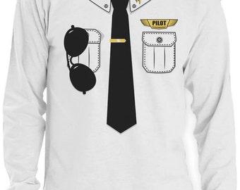 Pilot Halloween Costume Men Long Sleeve T-Shirt