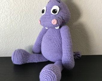Stuffed Hippo / Plush Toy / Crochet Amigurumi Hippo / Stuffed Animal / Amigurumi Hippo / MADE TO ORDER