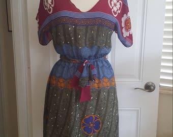 Vintage 1970s Bohemian Ethnic Print Dress