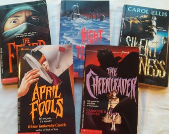 Lot of Five Vintage 90's Young Adult Point Thriller Paperbacks, published by Scholastic, 1990-1994.