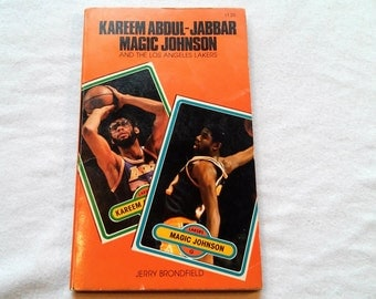 "Vintage 80's Basketball Paperback, ""Kareem Abdul-Jabbar, Magic Johnson and the Los Angeles Lakers"" by Jerry Bronfield, 1981."