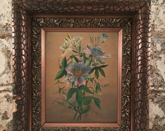 Antique oil on  Passion Flowers
