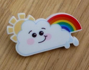 Rainbow Cloud Brooch - Acrylic Brooch - Kawaii Brooch - Cute Brooch - Acrylic Jewellery - Fun Jewellery