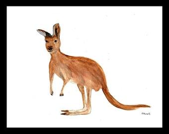Kangaroo art painting kangaroo watercolour animal art kangaroo wall art kangaroo illustration, nursery art kangaroo original 12 x 9
