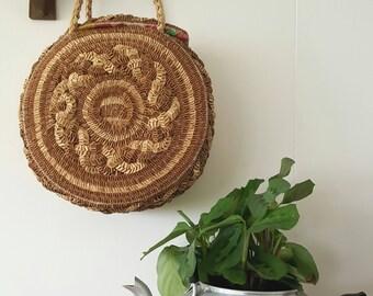 Vintage straw bag Round Bright floral lining