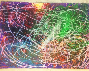 Colorful Layers Abstract Painting - Artist with Autism - Original Oil Pastel