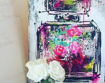 Midnight Romance , Original Painting on Canvas,  Fashion Illustration by Lana Moes, Chanel Inspired Large Wall Art, Ready to Hang