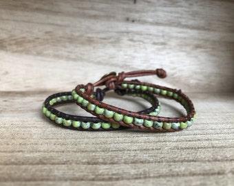 Chartreuse Picasso Single Wrap Bracelet
