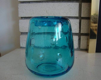 Hand Blown Art Glass Controlled Bubble Vase in Turquoise - Blue Glass Vase - Hand Blown Art Glass - Glass Vase - Controlled Bubble Vase