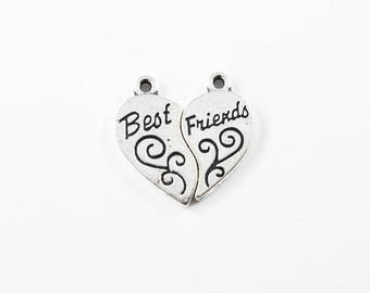 Silver Best Friends Charms, Message Charms - 2 sets (157SN)