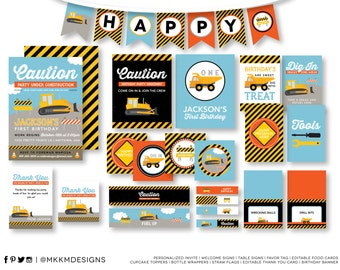 Construction Birthday Party Kit, Construction Party, Construction Invitation, Dump Truck Party, Birthday Banner, Editable Food Cards, #45
