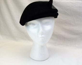 1940s asymmetrical ladies Hat brushed Felt black hat wool