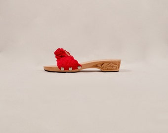 carved wood sandals / wooden slides / asian inspired / wood sandal slides / crochet slides / bohemian / resort sandals / red sandals