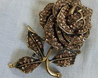 A Vintage Diamante Rose Brooch