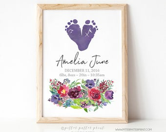 Floral Nursery Decor, Girls Boho Rustic Art Watercolor Flowers Baby Footprints, Personalized with Your Child's Feet, 8x10 in, UNFRAMED Berry